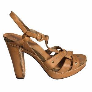 Frye Grace Woven T-strap Leather Sandals Heels 8.5